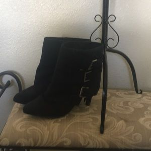 Heeled boots black size 10  suede like material